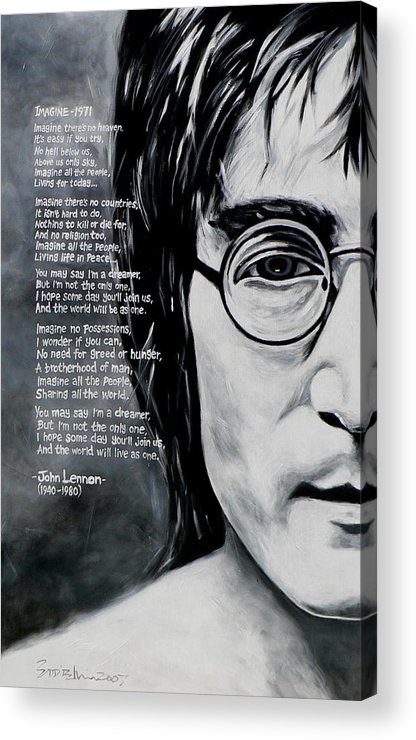 Figurative Acrylic Print featuring the painting John Lennon - Imagine by Eddie Lim