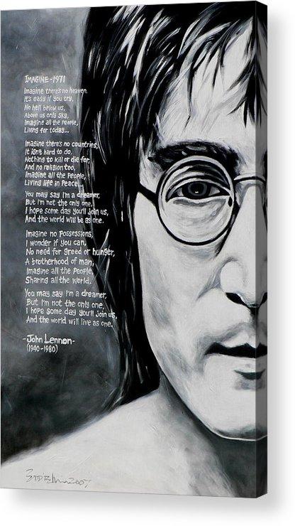 Figurative Acrylic Print featuring the painting John Lennon - Imagine by Eddie Lim