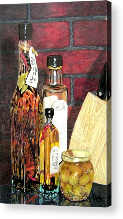 Still Life Acrylic Print featuring the drawing Olive Oil Bottles by Susan Moyer