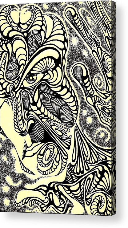 Abstract/ Drawings Acrylic Print featuring the drawing Pieces by Jeff DOttavio