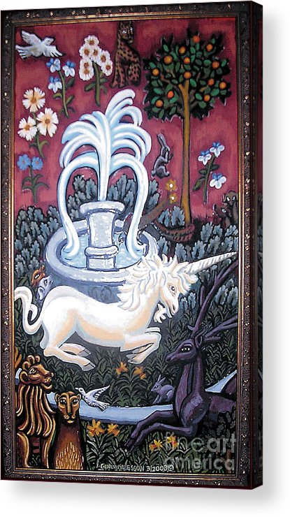 Unicorn Tapestries Acrylic Print featuring the painting The Unicorn And Garden by Genevieve Esson