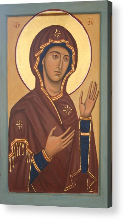 Mary Acrylic Print featuring the painting Theotokos by Phillip Schwartz