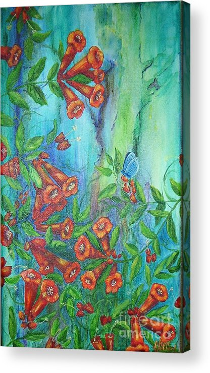 Trumpet Acrylic Print featuring the painting Trumpet Vine With Butterfly by Sheri Hubbard
