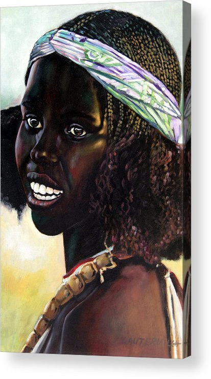 Young Black African Girl Acrylic Print featuring the painting Young Black African Girl by John Lautermilch
