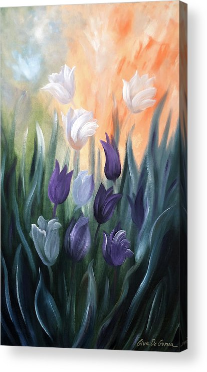 Tulip Acrylic Print featuring the painting Tulips by Gina De Gorna