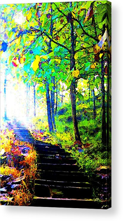 Landscape Acrylic Print featuring the digital art Garden Stairway Abstract by Linda Mears