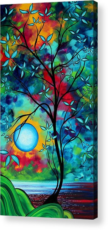 Art Acrylic Print featuring the painting Abstract Art Landscape Tree Blossoms Sea Painting Under The Light Of The Moon I By Madart by Megan Duncanson