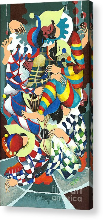 Canvas Prints Acrylic Print featuring the painting Harlequins Acting Weird - Why?... by Elisabeta Hermann