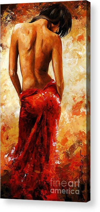 Nude Acrylic Print featuring the painting Lady In Red 27 by Emerico Imre Toth