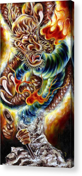 Caving Acrylic Print featuring the painting Power Of Spirit by Hiroko Sakai