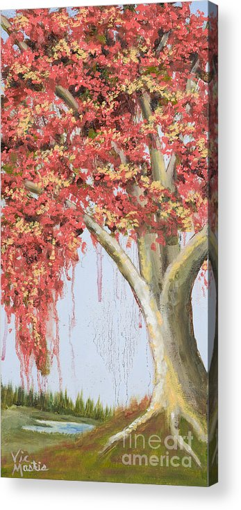Tree Acrylic Print featuring the painting Under The Tree With Gold Leaf By Vic Mastis by Vic Mastis