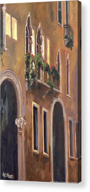 Landscape Acrylic Print featuring the painting Venice Windows by Allayn Stevens