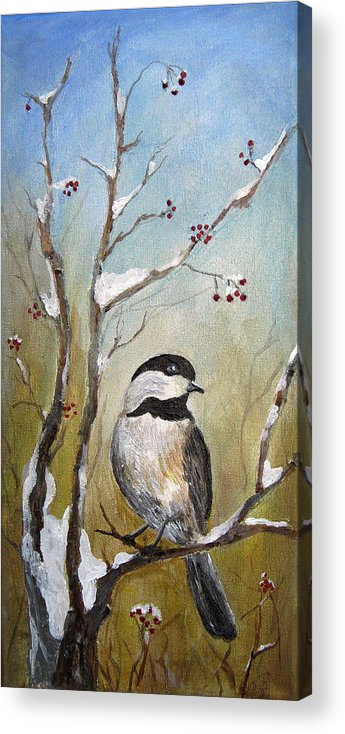Chickadee Acrylic Print featuring the painting Chickadee Part 1 by Karen Copley