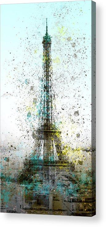 Europe Acrylic Print featuring the digital art City-art Paris Eiffel Tower II by Melanie Viola