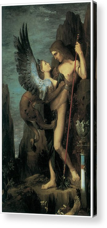 Gustave Moreau Acrylic Print featuring the painting Oedipus And The Sphinx by Gustave Moreau
