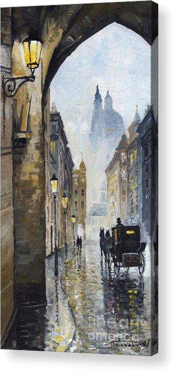 Prague Acrylic Print featuring the painting Prague Old Street 01 by Yuriy Shevchuk