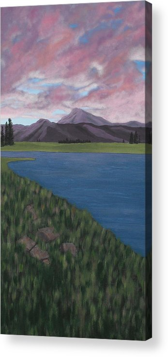Landscape Acrylic Print featuring the painting Purple Mountains by Candace Shockley
