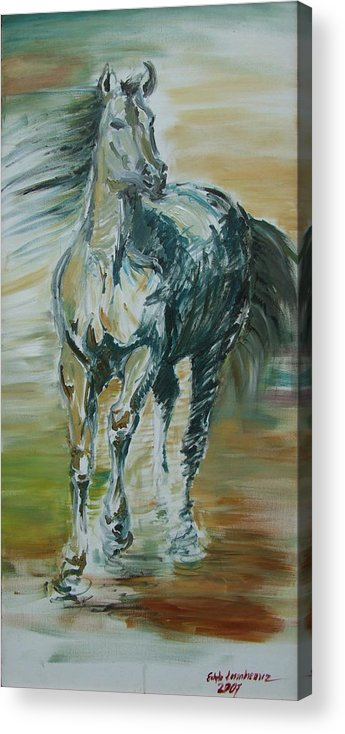 Horse Acrylic Print featuring the painting Blue Horse by Edyta Loszakiewicz