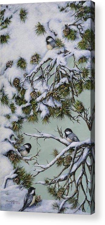 Chickadee Acrylic Print featuring the painting Chickadees by Theresa Jefferson
