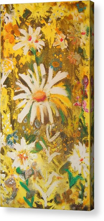 Floral Abstract Acrylic Print featuring the painting Daisies In The Wind Vii by Henny Dagenais