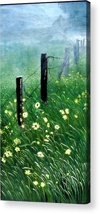 Landscape Acrylic Print featuring the painting Fence With A Ghost House by Robert Thomaston