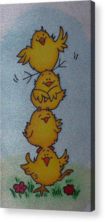 Funny Chickens Acrylic Print featuring the painting Funny Chickens by Tatiana Antsiferova