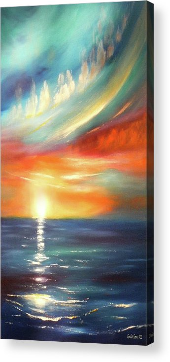 Sunset Acrylic Print featuring the painting Here It Goes - Colorful Sunset by Gina De Gorna
