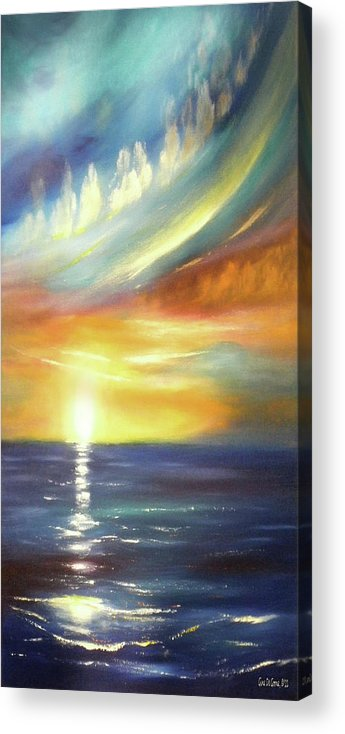 Brown Acrylic Print featuring the painting Here It Goes - Vertical Colorful Sunset by Gina De Gorna