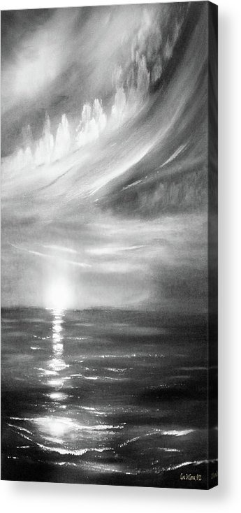 Sunset Acrylic Print featuring the painting Here It Goes -vertical Sunset In Black And White by Gina De Gorna