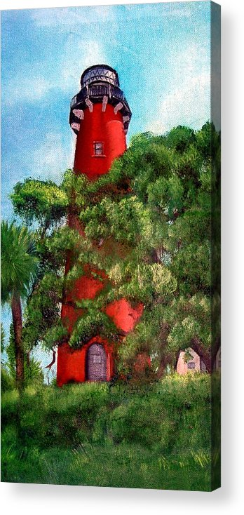 Jupiter Lighthouse Acrylic Print featuring the painting Jupiter Inlet Lighthouse by Darlene Green