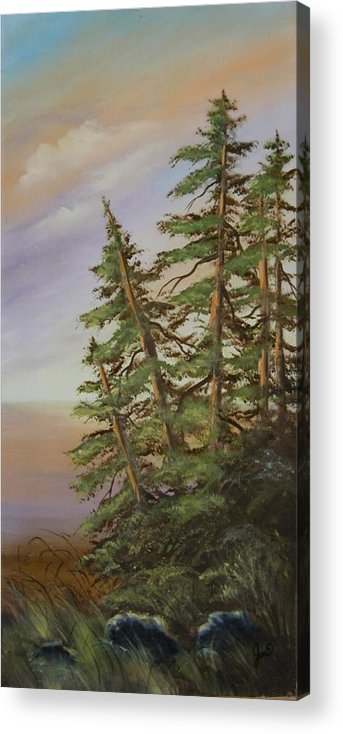 Landscape Acrylic Print featuring the painting Leaning Trees by Joni McPherson