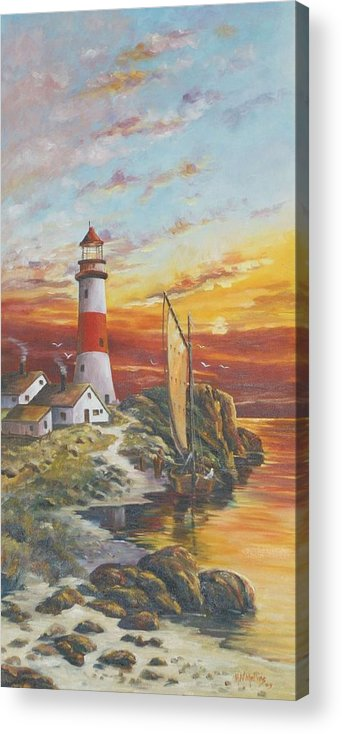 Seascape Acrylic Print featuring the painting Lighthouse Sunset by Mike Mullins