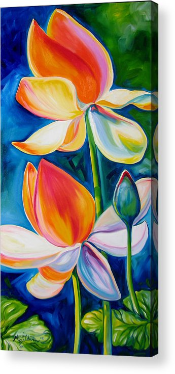 Lotus Acrylic Print featuring the painting Lotus Blossoming by Marcia Baldwin