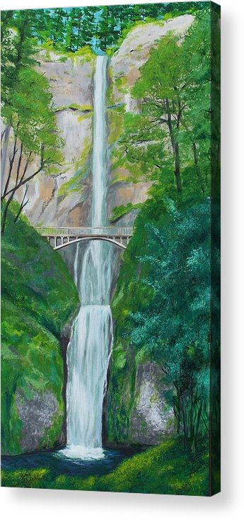 Landscape Acrylic Print featuring the painting Multonomah Falls by Gene Ritchhart