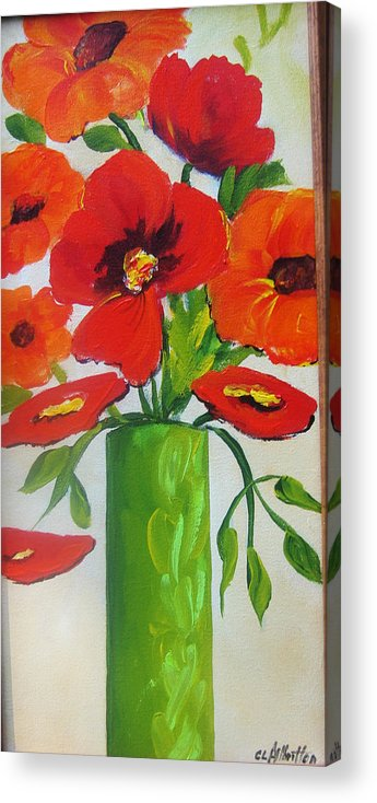 Painting Acrylic Print featuring the painting Orange Flowers In Lime Green Vase by Carrie Allbritton