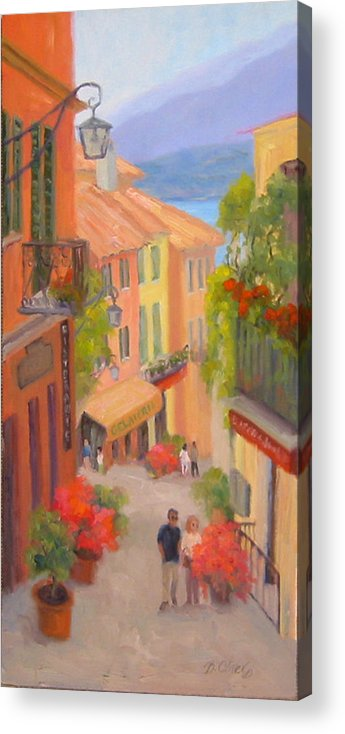 Bellagio Acrylic Print featuring the painting Saturday Stroll - Bellagio by Bunny Oliver