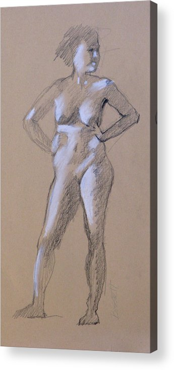 Life Acrylic Print featuring the drawing Standing Nude 1 by Robert Bissett