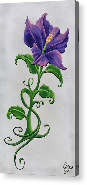Hibiscus Acrylic Print featuring the painting Strangler Hibiscus by Chris Fifty-one
