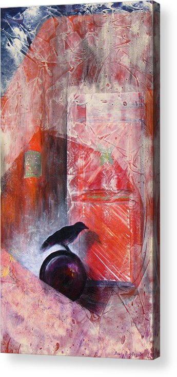 Raven Acrylic Print featuring the painting Tapping At My Chamber Door by Sandy Applegate