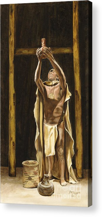 Sepia Acrylic Print featuring the painting The Offering by Mary Rogers