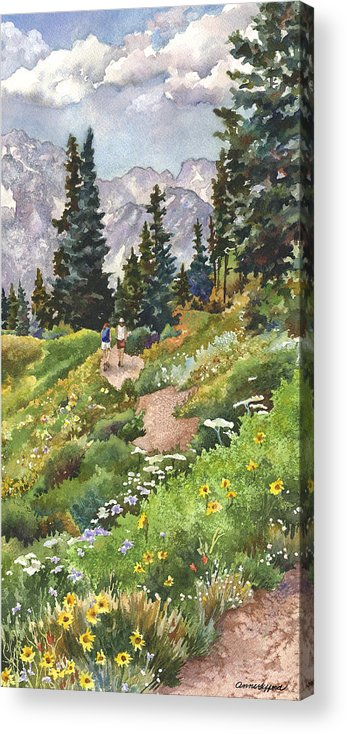 Colorado Hiking Trail Painting Acrylic Print featuring the painting Two Hikers by Anne Gifford