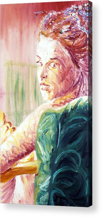 Portrait Acrylic Print featuring the painting Whos That Girl by LB Zaftig
