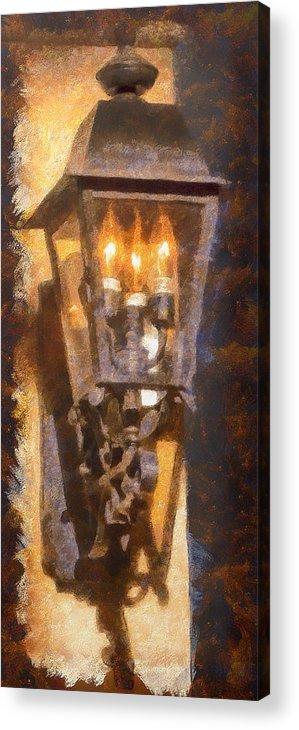 Santa Fe Acrylic Print featuring the photograph Old Santa Fe Lamp by Michael Flood