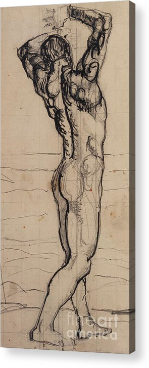 Drawing; Nude; Back View; Stretching; Standing; Full Length; Symbolist; Pen Acrylic Print featuring the drawing Male Act  Study For The Truth by Ferdninand Hodler