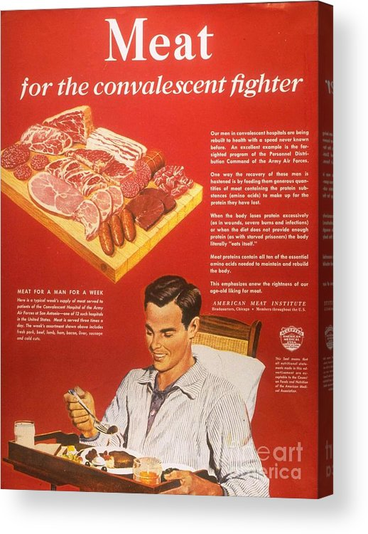 1940�s Acrylic Print featuring the drawing 1940s Usa Convalescents Meat Eating by The Advertising Archives
