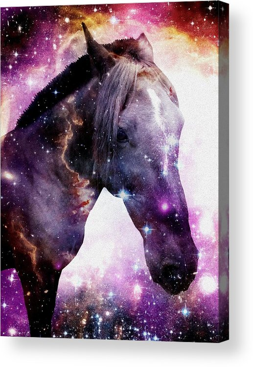 Stallion Acrylic Print featuring the digital art Horse In The Small Magellanic Cloud by Anastasiya Malakhova
