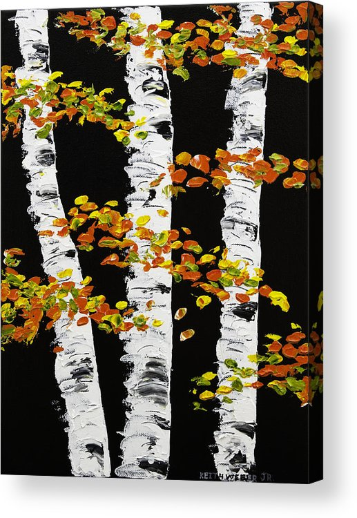 White birch trees in fall on black background painting for Acrylic painting on black background