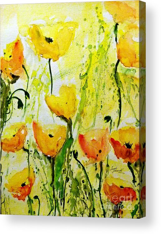 Yellow Poppy 2 Abstract Floral Painting Acrylic Print