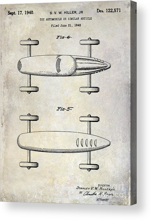 1940 Toy Car Patent Drawing Acrylic Print featuring the photograph 1940 Toy Car Patent Drawing by Jon Neidert