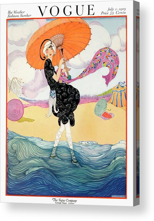 Illustration Acrylic Print featuring the photograph A Vogue Cover Of A Woman On A Beach by Helen Dryden